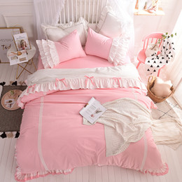Discount pink ruffled full bedding set - Free shipping 100%cotton simple bow lace princess ruffles pink bedding set 4pcs full queen king size bed skirt set MR