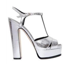 Silver Mirrored-Leather High Heels Women Sandals Summer Block Heels Summer  Block Heels Peep Toe T-Strap Women Pumps 18ab3efab31f