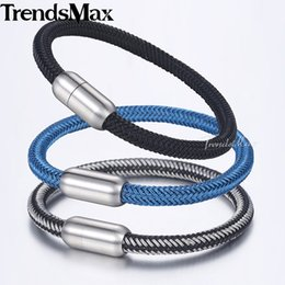 Discount silver chain for men 6mm - Trendsmax 6mm Wire Rope Braided Strand Bracelets For Men Black Silver Blue Tone Stainless Steel Bracelet Men Jewelry DLB