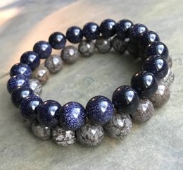 Wholesale 10mm Blue Goldstone Beads Bracelet mm Brown Snowflake Jasper Beads Elastic Bracelet Gemstone Bracelet Bead Bracelet Gifts
