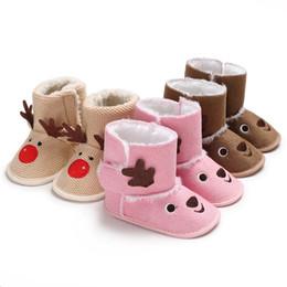 c2089febd3c Newborn Baby Winter Warm Boots Toddler Girls Christmas Cute Knit Cartoon Elk  Animal Booties Infant Kids Snow Slippers