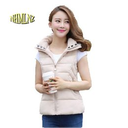 women down hooded vests Australia - New Autumn Winter Fashion Women Vest Slim Light Thin Down cotton Vest Pure color Sleeveless Big yards Hooded Jacket Coat F832