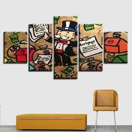$enCountryForm.capitalKeyWord NZ - HD Printed Modular Poster Canvas 5 Pieces Cartoon Man Money Bag And Letter Painting Framework Art Decor Living Room Wall Picture