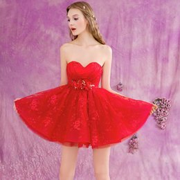 Strapless Sequin Red Dress Australia - vestido de festa flowers beading a-line 2018 New sexy sweetheart red lace short mini Prom Dresses party gown louisvuigon woman