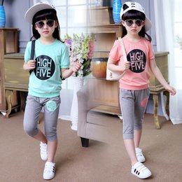 Wholesale Kids Clothes Short Sleeved T Shirt pants Seven Letters Sport Sets for Girls Summer New Children Clothing Suits Green Ages