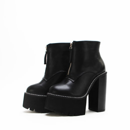 $enCountryForm.capitalKeyWord UK - Newest Ankle Boots Sexy Fashion Platform Short Boots Round Toe Martin Boots Spring Autumn Women Black Square Heels Shoes
