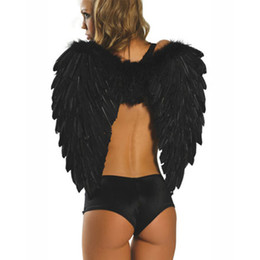 $enCountryForm.capitalKeyWord UK - Free shipping! Black Feather Angel Wings Sexy Dark Angel Costume Accessories Christmas Halloween Product Wholesale retail 8500