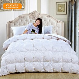 luxury super king size beds 2018 - CLOVER LANGUAGE White Pink Duvet 100% White Goose Down Quilt Luxury Bread King Queen Full Size Super Soft Warmest Home B