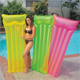 wholesale pool toys sale Australia - 2017 New Inflatable Swimming Float Bed Fluorescent Pool Float for Adult Tube Raft Kid Swimming Ring Summer Water Toy Hot Sale