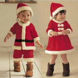 3t santa suit 2019 - children Christmas Clothing Set Baby Boys Suit Toddler Girls Dresses Santa Claus Costumes hat cosplay set KKA5932 cheap