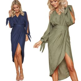 3ea3052d03df0f Office Dress for Women Summer with Cut Out Long Sleeve Asymmetric Hem  Fashion Sexy Dresses Plus Size for Ladies Royal Blue Army Green Color