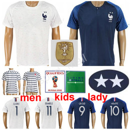 yellow green soccer kits NZ - 2018 World Cup Soccer 7 GRIEZMANN Jerseys 10 MBAPPE POGBA Football Shirt Kits 9 GIROUD LLORIS National Team Blue White Two 2 Stars