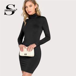 08e5a13a3 Sheinside Negro Forma de cuello alto Ajuste sólido Vestido de mujer Ropa  2018 Vestidos de manga larga de otoño Elegante vestido elástico Bodycon