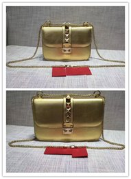 Color Leather Bags Australia - Free shipping !High-end custom luxury Genuine Leather fashion women Rivets Chains Hasp shoulder bags \Fashion Handags\Wallet color Golden