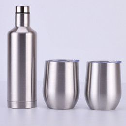 Bottle sets online shopping - 3pcs set wine glasses set Gift package Stainless Steel red wine bottle with cups Outdoor Insulated Cooler wine glasses set oz double layer