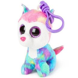 "Husky Toys UK - Pyoopeo Ty Beanie Boos 4"" 9cm Izabella the Husky Clip Slush Keyring Soft Big-eyed Stuffed Animal Dog Collection Doll Toy"