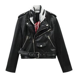 S Scarf NZ - HIGH STREET Newest Baroque Fashion 2018 Designer Jacket Women's Scarf Collar Zip Faux Leather Jacket