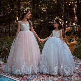 $enCountryForm.capitalKeyWord NZ - Custom Made Flower Girl Dresses for Wedding Blush Pink Princess Tutu Sequined Appliqued Lace Bow Vintage Child First Communion Dress