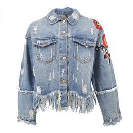 Chinese  2018 Flower Embroidery Denim Jacket Coat Women Vintage Autumn Tassels Basic Jackets 2018 Casual Ripped Jean Jacket Outerwear manufacturers