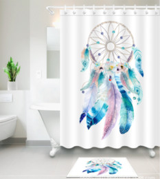 Modern Fabric For Curtains Australia - 3D Polyester Fabric colorful feather print Shower Curtains with 12 Hooks For Bathroom Decor Modern Bath Waterproof Curtain floor mats sets