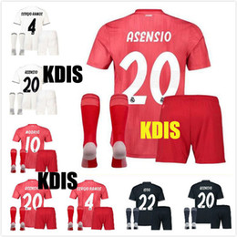 53d0d14904e 2019 Real madrid kids soccer Jersey 17 18 19 3rd red home away black  ASENSIO BALE RAMOS ISCO KROOS MODRIC Champions League patches shirts