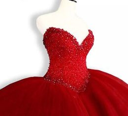China Puffy Quinceanera Dresses 2017 Sweetheart Top Beading Sweet 16 Ball Gowns Red Quinceanera Dress 15 Years Birthday Party Gowns suppliers