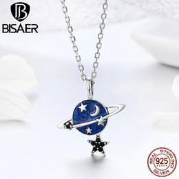 secret pendant NZ - BISAER Genuine 925 Sterling Silver Secret Planet Star Pendant Chain Necklace for Women Design Brand Fashion Jewelry HSN230