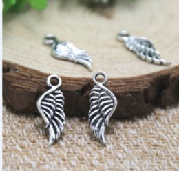 TibeTan silver angel wing charms online shopping - 50pcs MINI angel wing charm Antique Tibetan Silver sided wing pendants charms x7mm