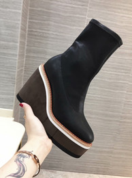 Discount over knee knights boots - Fashion Hot Wedge High Platform Boots Cowhide Slim Booties Woman Shoes 2019