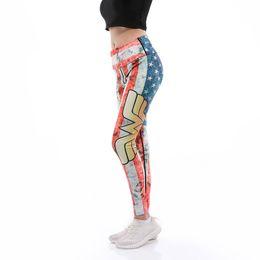 b0cb02c52bc3 Women Yoga Pants fitness leggings 3D print flag stripes stars fashion  female High Waist workout push up plus size sports pants