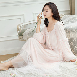 Okunfen  Lace long sleeve Maternity Nightgown EleRoyal NightDress for Pregnant Women Summer Loose Maternity clothing