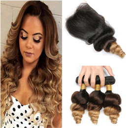 Discount honey blonde virgin hair closure - #1B 4 27 Honey Blonde Ombre 3Bundles Indian Virgin Human Hair Loose Wave Wavy Weaves with Three Tone Ombre 4x4 Front Lac