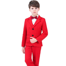 ef11e0b0b6d High Quality Wedding Party Suit For Flower Boys Formal Dress Gentleman Kids  Blazer Shirt Pant Bowtie 4Pcs ceremony Costumes