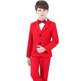 Ingrosso Vestito da cerimonia nuziale del partito di alta qualità per il vestito convenzionale dai ragazzi di fiore Gentleman Blazer Camicia Pant pantaloni Bowtie 4 pezzi cerimonia costumi