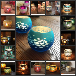 Wholesale Handmade Candles NZ - Retro Round Candle Holders Handmade Paster Wave Snowflake Candlestick European Glass Mosaic Candelabrum Home Wedding Party Decor 13 2zb YC