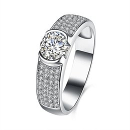 China Luxury Wholesale Jewelry NZ - Real Sterling Silver 925 Ring , Luxury Round Austrian Crystal Ring, Fashion Wedding Rings Silver Jewelry free shipping R107