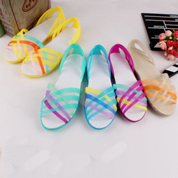 03966129a 2018 Women Sandals Summer New Candy Shoes Peep Toe Stappy Beach Valentine  Rainbow Jelly Cross Strap Shoes Woman Flats