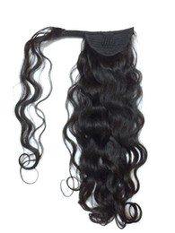 $enCountryForm.capitalKeyWord NZ - No synthetic hair hairpieces clip in wrap around wavy curly human hair 120g drawstring ponytail hair extension for black women