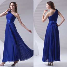 f297734ed0 Royal Blue Chiffon Long Bridesmaid Dresses One Shoulder Pleated Formal  Wedding Guest Maid Of Honor Floor Length Prom Dresses ZPT422