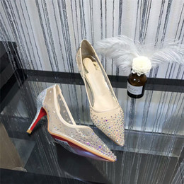 Wholesale Red Bottoms Follies Strass Sneakers Pointed Toe Studded Spikes Rivets Crystals Women Wedding Shoes Lady High Heel Shoe Luxury Brand