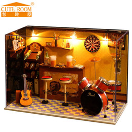 wooden crafts for kids 2019 - New Miniature Crafts DIY Wooden Doll Houses With Dust Cover Music box Furniture Toys For Kids Children Birthday Gift bar