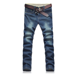 blue cotton men Australia - Men Four Seasons Fashion Blue Zipper Middle Waist Cotton Blended Micro-bomb Straight Casual Washed Long Jeans (Price only for jeans)