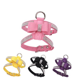 walking harnesses for large dogs NZ - Bow Knot PU Leather Dog Harness Leash Collar Bling Rhinestone Pet Dog Puppy Walking Chest Strap Pet Products for small dog