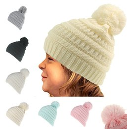 Kids CC Beanie Knitted Hats With Ball top 6 colors Winter Chunky Crochet  Outdoor hat Autumn Winter cartoon Caps without logo LC647-1 411f0480ce1