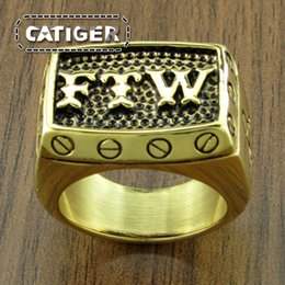 316l Ring Mix NZ - Gold Plated Letter Big FTW Punk Mechanical Screw Mens Motor Biker Exquisite 316L Stainless Steel Motorcycle Finger Ring Dropshipping