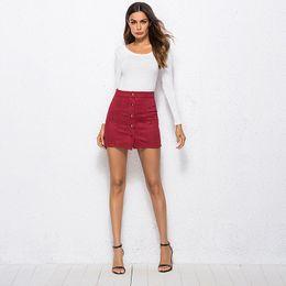 153688f8e34 Wine Red Women Skirt Mini Short Button High Waist Bodycon Pencil Summer 2019  New Women Mini Jupe Femme Plus Size