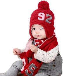 1246863ef49 Baby Cap Set Girl Winter Hat And Scarf Set For Kids Children Ribbed Knited Beanie  Cap Scarves Glove Number Design Warm Suit MZ7020