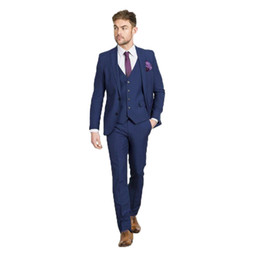 navy blue tuxedos for weddings UK - Navy Blue Men Suits for Wedding Slim Fit Groom Tuxedos Handsome Best Man Blazers 3 Pieces Jacket Pants Vest Peaked Lapel Groomsmen Suits