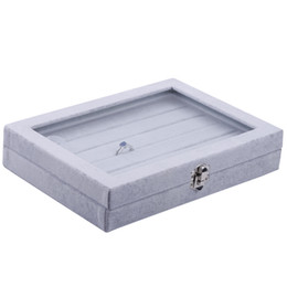 Ring Case Holder Displays Australia - 5 layer groove ring display carring boxes with glass cover fashion rings stand for jewelry holder gray velvet carrying case