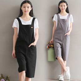 a045ea8926c9 8023  Summer Women s Jumpsuits Vintage Rompers Salopette Bib Short Brushed Casual  Cotton Linen Five Pants Overalls 2017 New